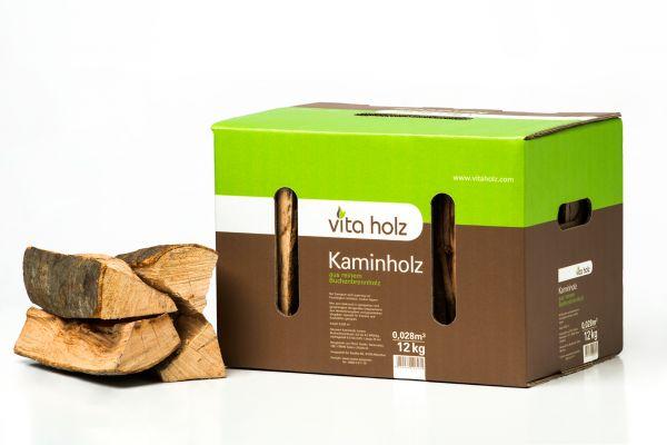 Packung: 12kg Buchen-Kaminholz im handlichen Karton für Lagerfeuer, Smoker und Co.