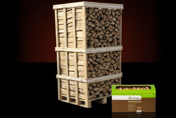 + 1x Anmachholz GRATIS/ Box: 2 Raummeter Buchen-Kaminholz trocken, ofenfertig inkl. Versand