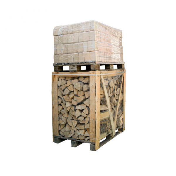 Holzbriketts+Kaminhoz: 1 RM Kaminholz Laubholz + 400 kg Holzbriketts | inkl.Versand