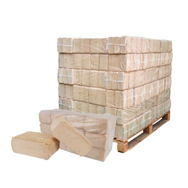 Holzbriketts 380 kg Palette: Würfel Hartholz-Mix aus Buche, Eiche und Co.   inkl. Versand