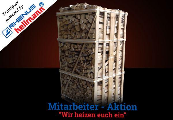 Box: 2 Raummeter Birken-Kaminholz trocken, ofenfertig - Versand powered by Rhenus