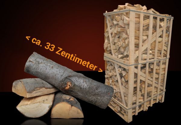 Box: 1,8 Raummeter Buchen-Kaminholz 33cm trocken, ofenfertig zum heizen, räuchern, Pizzaria inkl. Ve