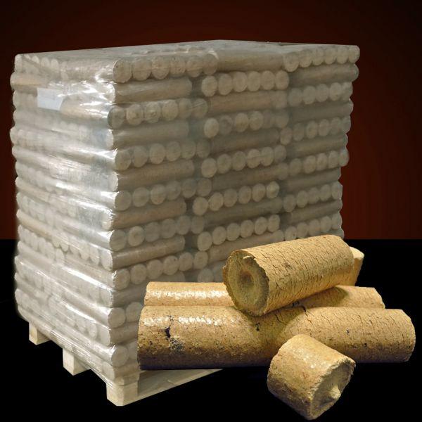 Palette: 960kg runde Nadelholz-Briketts dünn in 10kg-Packungen inkl. bundesweiter Lieferung