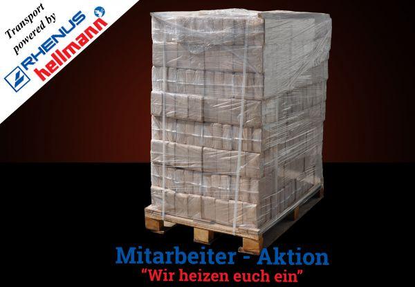 Palette: 960kg Würfel-Hartholz-Mix - Transport powered by Rhenus