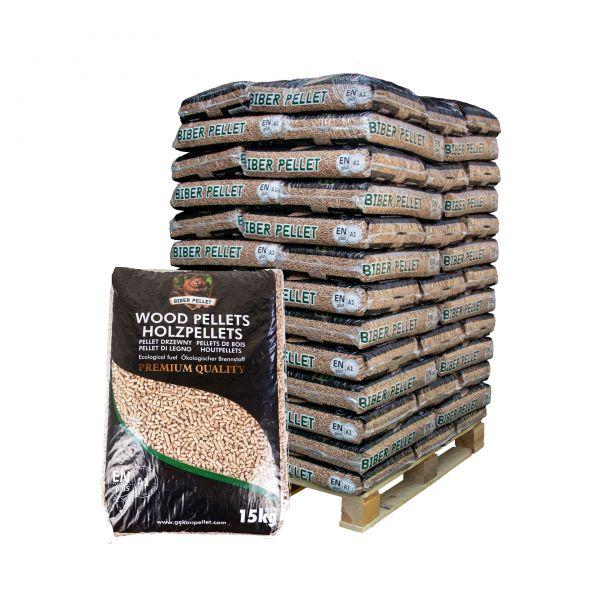 "Nadelholz Pellets - Marke ""Biber""   960 kg Palette   ENplusA1 zertifiziert   inkl. Versand"