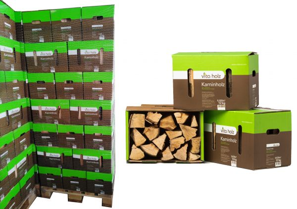 Palette: 63x12kg Buchen-Kaminholz im Karton für Lagerfeuer, Smoker und Co./ ab 5,38€/Karton